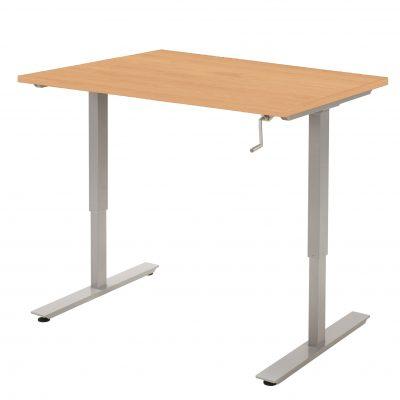 Handmatig-zit-sta-bureau-Beuken Aluminium Frame