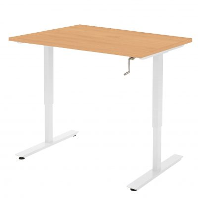 Handmatig-zit-sta-bureau-Beuken Wit frame