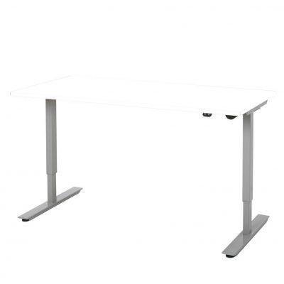 Zit-Sta-Bureau-Wit met Aluminium Frame